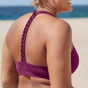 Athleta Macrame T Back Bra Cup Bikini Top 40 B/C